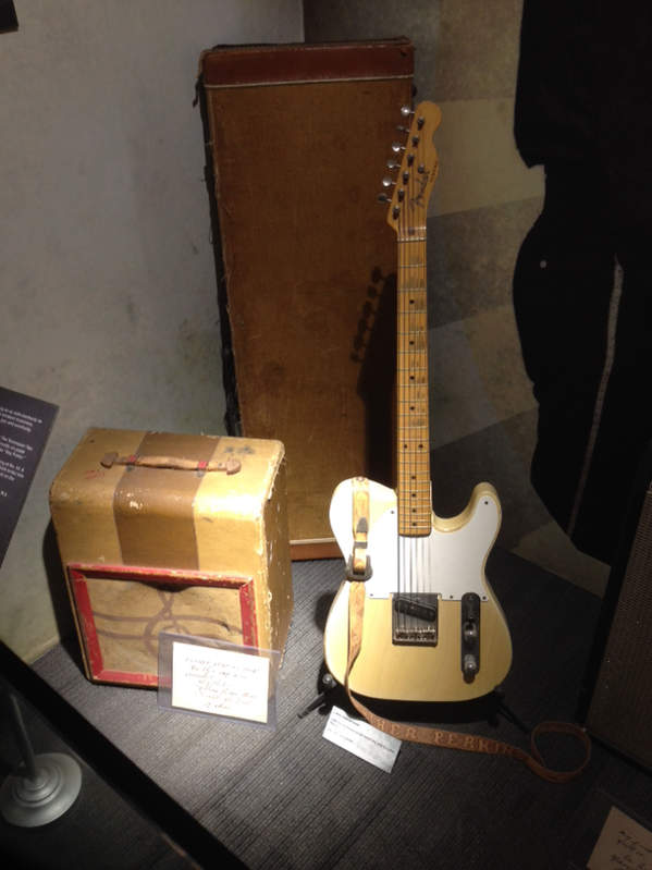 Luther Perkins 1955 Esquire 08844 on display at Johnny Cash Museum