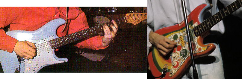 "George transformed the Sonic Blue Strat into ""Rocky"""