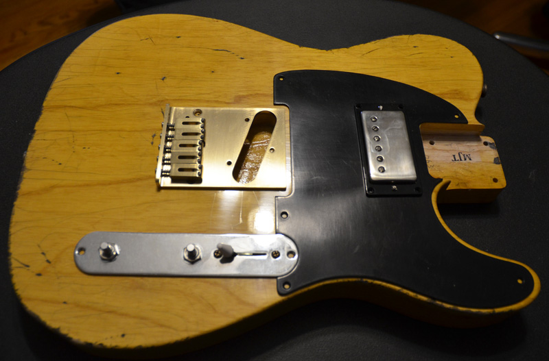 Mounted humbucker upside down like Keefer
