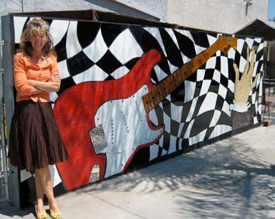 Located in Downtown Fullerton, this mural with a Fender guitar is 20' x 6'