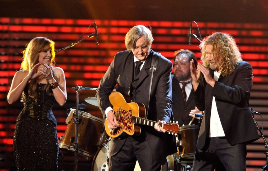 T Bone Burnett with Robert Plant and Alison Krauss playing Kay Thin Twin guitar