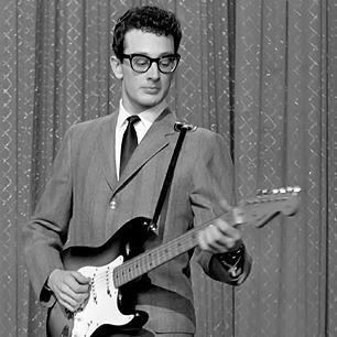 Buddy Holly with his iconic Fender Stratocaster
