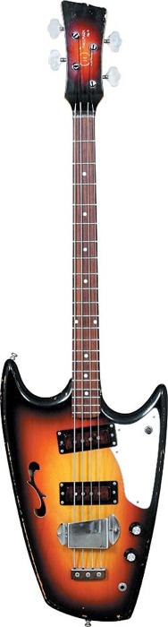 1967 Hallmark Swept Wing semi-hollow bass, serial #003127 courtesy of Bob Shade