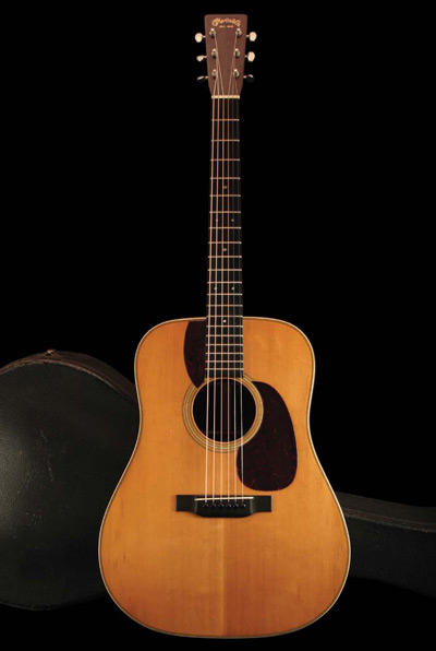 1937 Martin D-28—serial #66725—has the iconic dreadnought body style  that epitomizes the flattop steel-string guitar.
