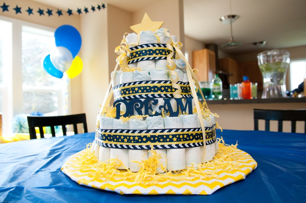 Love You To The Moon & Back Diaper Cake