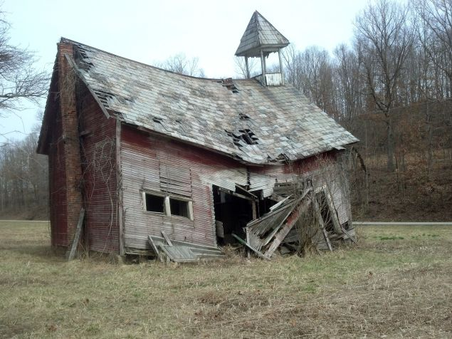 Someone broke the poor school house's back.