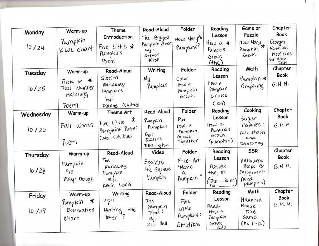 Pumpkins Weekly Curriculum