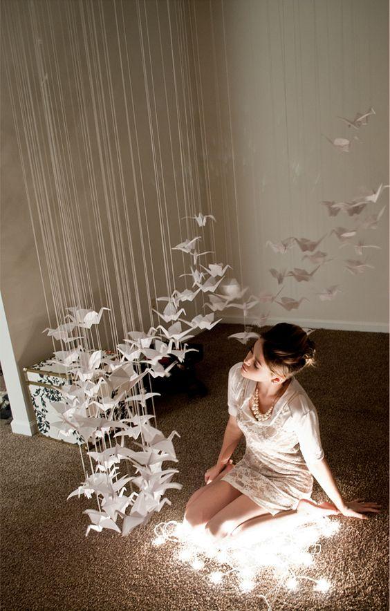 origami gru appese al soffitto