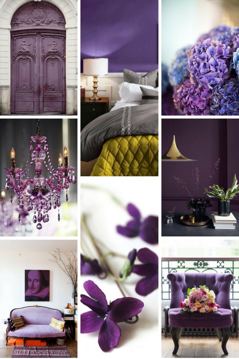 collage di immagini colore pantone 2018 ultra violet