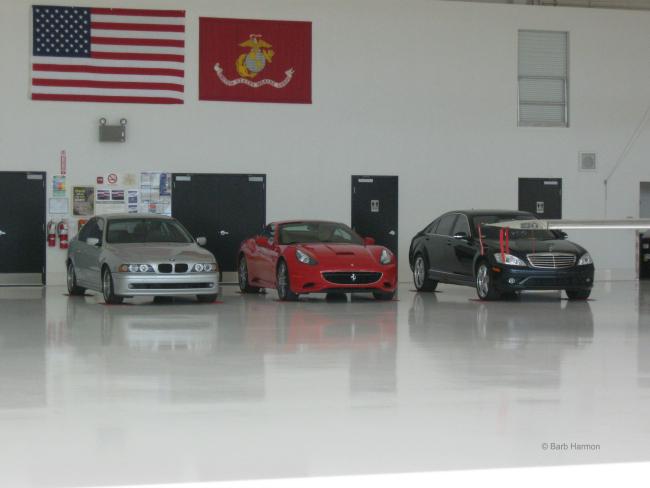 cars in the Scottsdale hangar