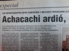 Arde Achacachi: 9 de abril del 2000 (La Razón, abril del 2000)