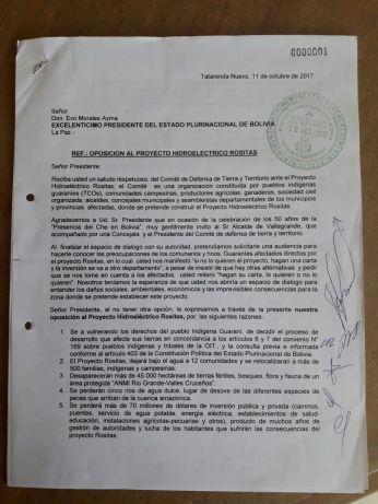 Carta enviada al presidente Morales, por el Comité de Defensa de Tierra y Territorio en octubre de 2017