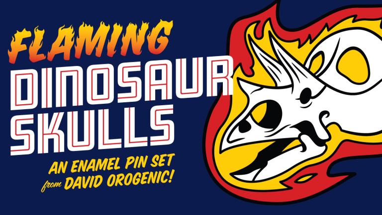 Promotional graphic for David Orr's Flaming Dinosaur Skulls Kickstarter campaign