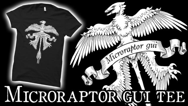 Rebecca Groom's heraldic microraptor tee shirt