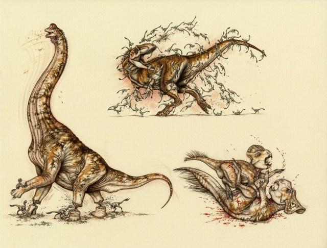 Battles 1, 2, and 5 of Natee Himmapaan's battle illustrations