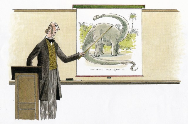 Lecturer pointing at painting of grey dinosaur