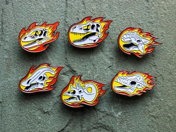 David Orr's flaming dinosaur enamel pin set