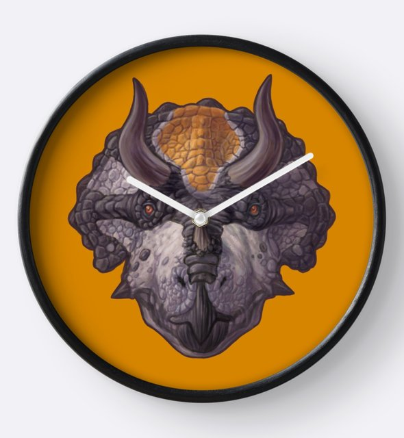 Triceratops horridus clock by Sean Closson