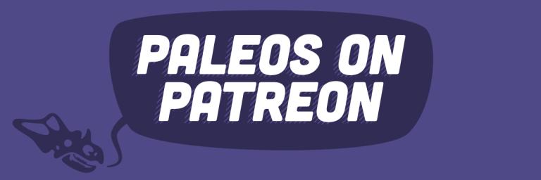 """A chasmosaur skull saying """"Paleos on Patreon"""""""