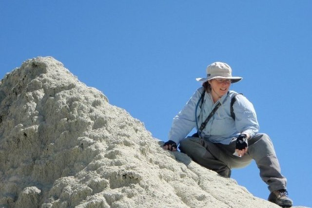 Paleontologist Jennifer Cavin in the field