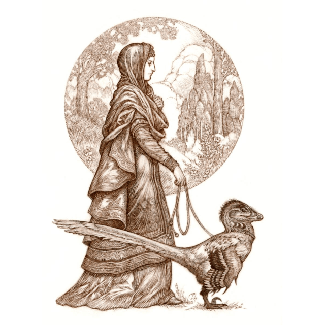 Illustration of robed woman with leashed velociraptor by Natee Himmapaan.