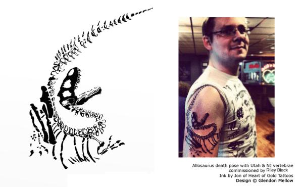 Riley Black showing off Glendon Mellow's Allosaurus tattoo art
