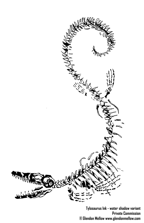 Tylosaurus tattoo design by Glendon Mellow