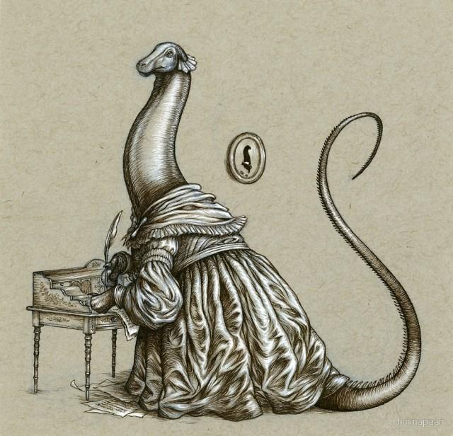 Brontësaurus - a Brontosaurus in Victorian garb at a writing desk