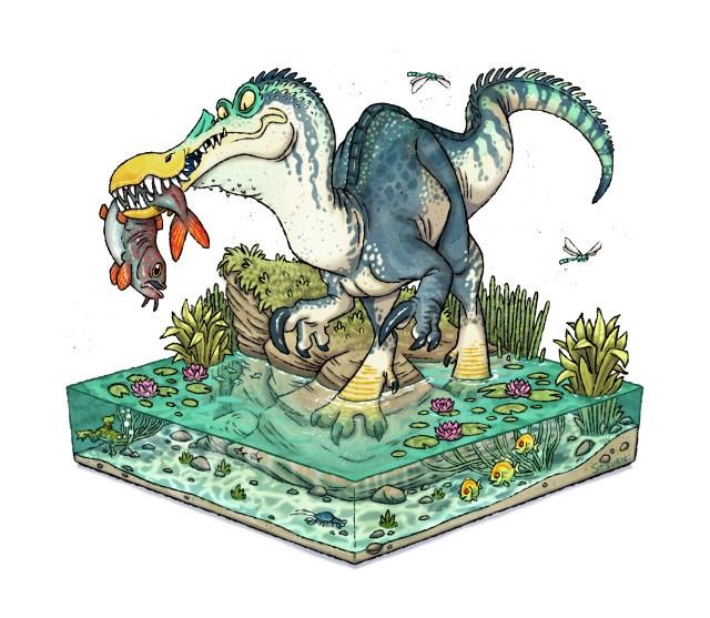 Cartoon Baryonyx illustration by Stieven van der Poorten