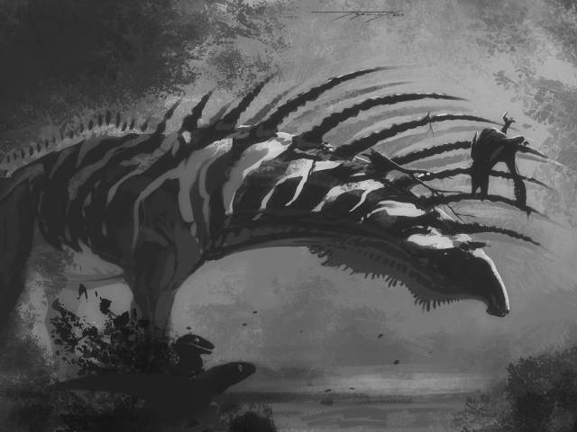 Black and white illustration of Bajadasaurus with a dromaeosaur impaled on its neck spines