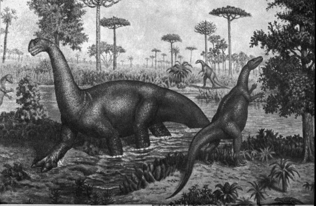Jurassic dinosaurs drawing featuring