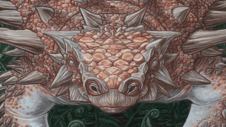 A close-up detail of the head of Sean Closson's Zuul crurivastator illustration