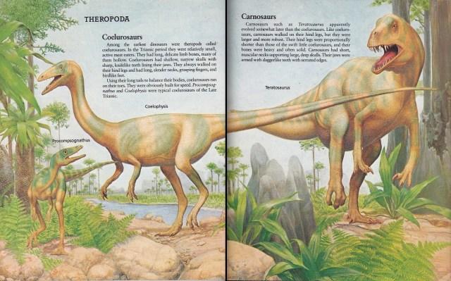 Procompsognathus, Coelophysis, Teratosaurus by Peter Zallinger