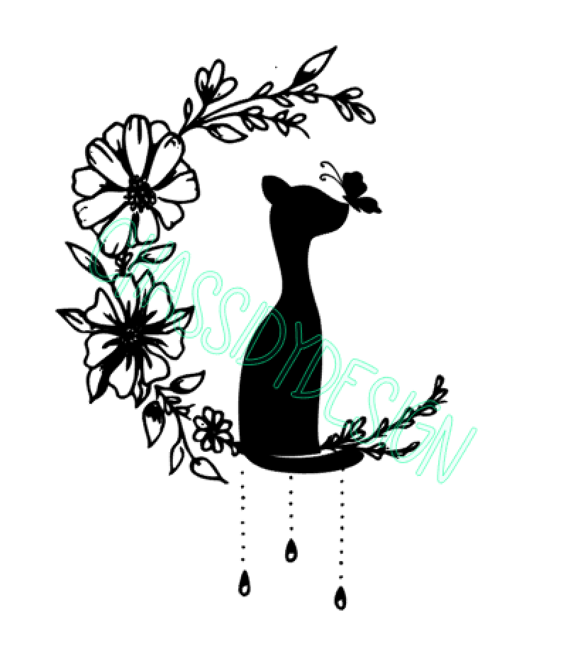 Cat in moon flowers svg