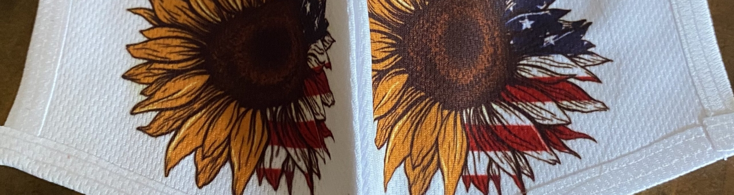 Sunflower mask with seam and American flag