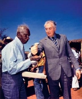Mervyn Bishop captures Gough Whitlam's symbolic gesture to Vincent Lingiari in 1975
