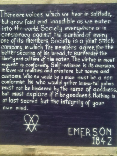 Emerson on the wall - Self Reliance