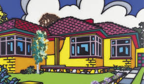 Family Home: Suburban Exterior (1993) Synthetic polymer paint on canvas, 203 x 254 Monash University Collection [1994.58]