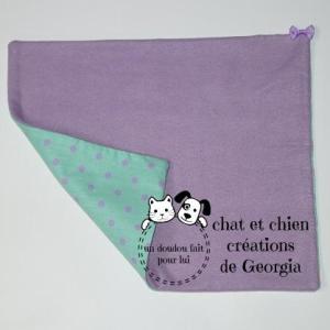 Doudou pattacrêpe, violet/vert, pour chat et chien créé par Georgia