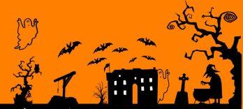 Dessins noir sur fond orange représentant le château entouré de sorcières, chauve-souris et fantômes