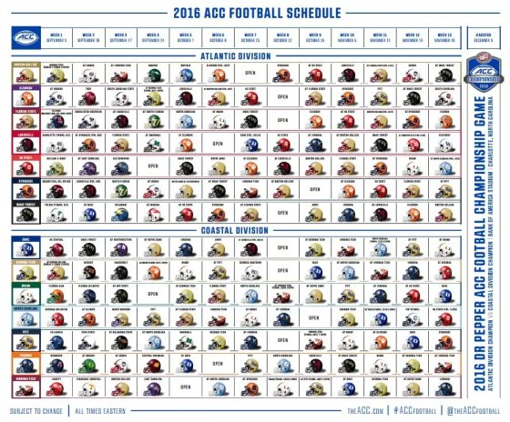 2016 ACC Football Helmet Schedule