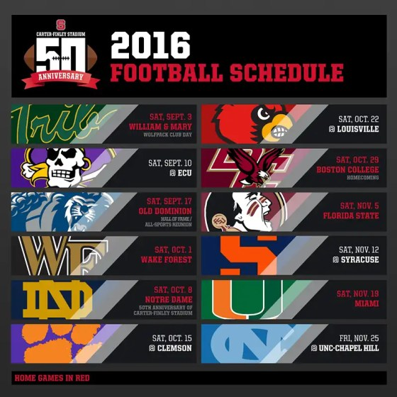 2016 NC State Wolfpack Football Schedule