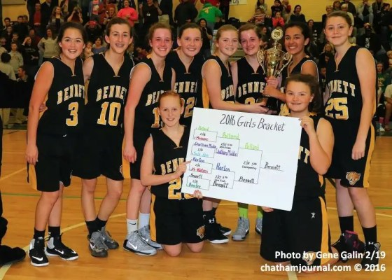 Bennett girls were the Chatham County Schools Middle School Basketball Tournament Champions