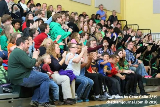 A good sized crowd was on hand to watch the 2016 Chatham County Schools Middle School Basketball Tournament Championship games.