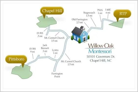 Willow Oak Montessori School Map