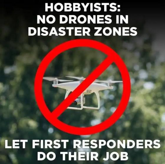 No drones in disaster zones