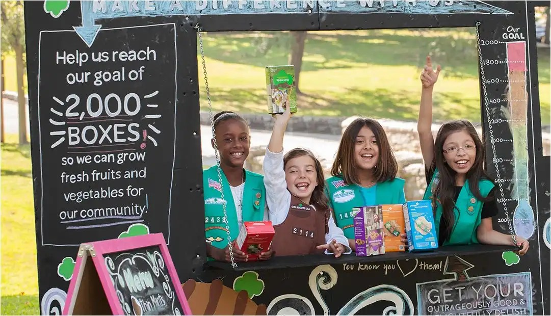 Girl Scouts donate cookies to police officers
