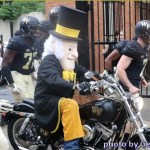 demon deacon rides onto BBT field. Photo by Gene Galin