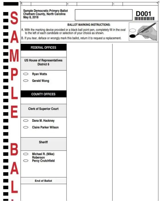 Sample Ballot May 8, 2018 Democratic Primary