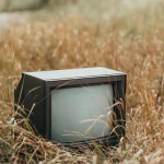 used tv set on withered grass